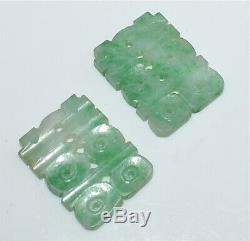 Paire Chinois Antique Sculpté Jade Jadéite Symboles Personnages Boucle D'oreille Pièces