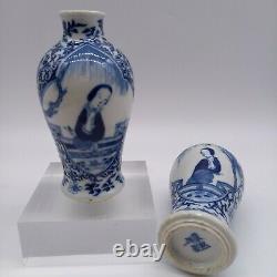 Paire Chinoise Antique De Vases De Porcelaine De Kangxi, 19ème Siècle