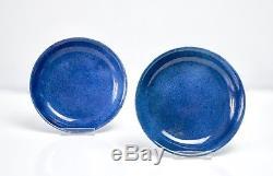 Paire D'assiettes En Émail Bleu Poudré D'époque Chine Kangxi