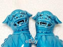 Paire De Chiens Foo En Céramique Turquoise Bleue Des Années 1920 / Lions Gardiens