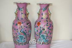 Paire De Grands Vases En Porcelaine De Chine D'époque 18ème / 19ème Siècle