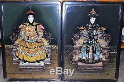 Paire De Peintures En Verre Inversé Emperor & Empress Circa 1920