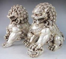 Paire De Statues De Chien Chinois En Argent Guardian Lion Foo Fu