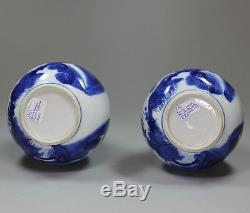 Paire De Vases Chinois Bleus Et Blancs, Kangxi (1662-1722)