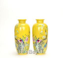 Paire De Vases En Porcelaine Émaillée Famille Rose Émaillés Jaunes, Chine