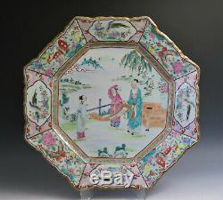 Paire Grand Antique Chinese Export Canton Famille Plate Rose Porcelaine Octogon