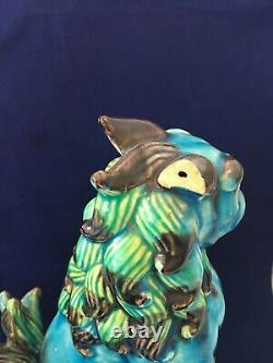 Paire Vintage Chinese Export Turquoise Blue Glazed Ceramic Foo Dog Sculptures 10