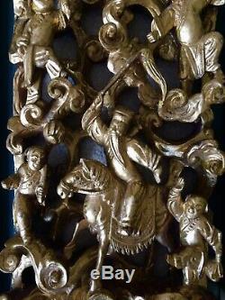 Panneau En Bois Sculpté Antique / Vintage Chinois Doré