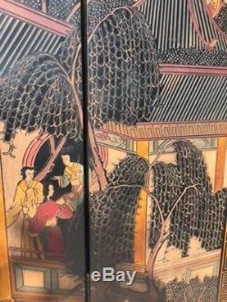 Paravent À Huit Panneaux En Laque De Chine Coromandel, Xixe Siècle