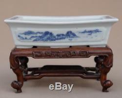 Paysage De Planteur De Narcisses En Porcelaine De Chine, Bleu Et Blanc, Xixe Siècle