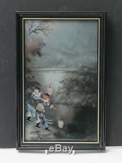 Peinture Inversée Antique Chinoise Sur Le Verre De La Lanterne Porte À La Piscine Éclairée Par La Lune