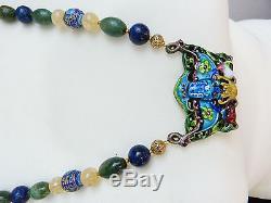 Pendentif En Argent Chinois Antique Émail-mandarin Chinois Perles-pierre Collier