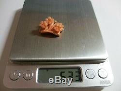 Pendentif Fleur Magnifique Coréen Antique Profondément Sculpté 14k Fleur De Corail-superbe