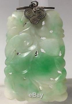 Pendentif Jade En Pierre Antique Chinoise Blanche & Pomme Vert Filigrane D'argent
