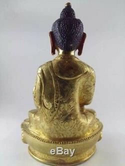 Pièce Maîtresse À La Main Doré Tibétain Chinois Statue De Bouddha Bouddhisme 8 Pouces