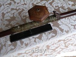 Pipe Chinoise Antique En Bambou Et Jade Avec Bol En Céramique
