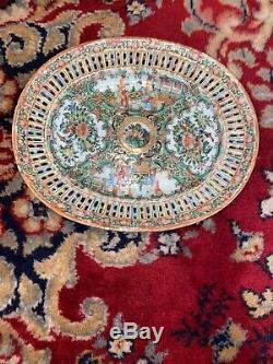 Plaque Antique Canton Porcelaine Famille Médaillon Rose Chinois Reticulated