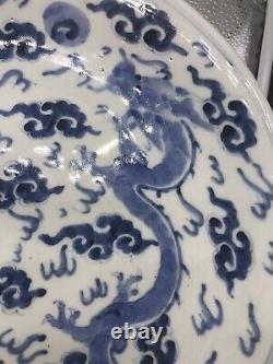Plaque Antique Chinoise Bleue Et Blanche De Dragon 11 1/2 Marqué, Dynastie De Qing