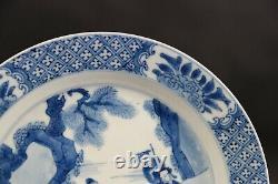 Plaque Chinoise Antique Merveilleuse De Porcelaine Avec Des Figures, Kangxi 1662-1722, Marquée