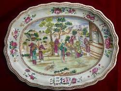 Plaque De Viande Grande Porcelaine Chinoise D'exportation En Famille Rose -qianlong Période