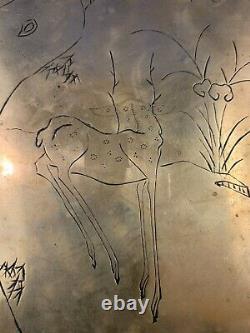 Plateau Antique Gravé De Lampe D'opium Chinois En Laiton
