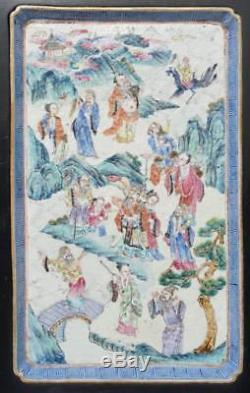 Plateau Famille Rose Chinois, Immortels Baxian, 19ème Siècle