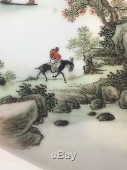 Plateau Vintage Antique Chinois En Porcelaine De Qianjiang, Artiste Signé 20ème