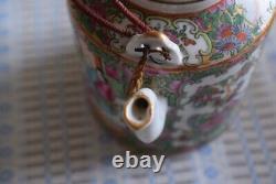 Porcelaine Chinoise Antique Théière Qing Dynasty Canton Rose Médaillon