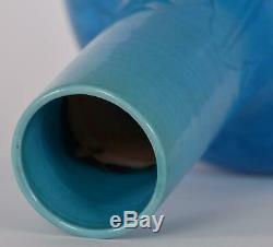 Porcelaine Chinoise Bleu Turquoise Glacé Feuille Incisée Décoré Vase Dynastie Qing