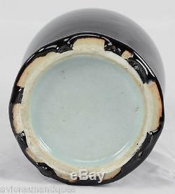 Porcelaine Miroir Vase Chinois Noir Monochrome Glaze Dynastie Qing