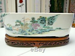 Porcelaine Rare Et Chinoise Famille Rose Planteur Période 19thc Guangxu Pas De Marque