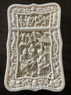 Porte-cartes De Visite Antiques Chinois Sculptés