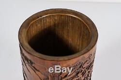 Pot À Pinceau Sculpté En Bambou Chinois