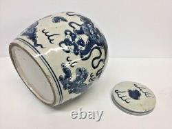 Pot Antique Chinois De Gingembre De Porcelaine Bleue Et Blanche