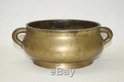Qing 18ème Siècle Chinois Grand Encensoir Encensoir En Bronze