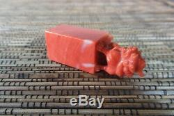 Qing Dynastie Chinoise Red Coral Foo Chien Lion Miniature 2 Pouces Antique Seal Chop