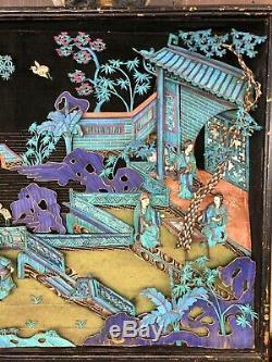 Qualité De Musée Antique Martin-pêcheur D'argent Silver Shadow Box Figures Court Art