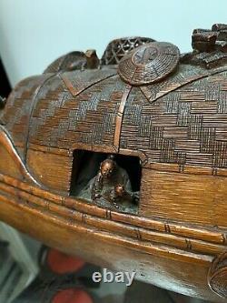 Rare 18ème / 19ème Siècle Sculpture En Bambou Chinois