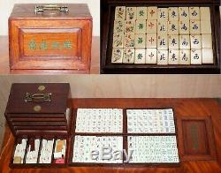Rare 19ème Siècle Chinois Mahjong Set In Carry Case Fait Avec Bovine Et Bambo