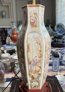 Rare Antique Chinese Famille Rose Mandarin Hexagon Vase Lamp 18ème C