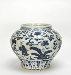Rare Antique Chinese Yuan Bleu Et Blanc Figure Vase En Porcelaine
