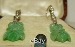 Rare, Antique Chinois 9 Ct Or Cicada Boucles D'oreilles Avec Jade & Saphirs Sculpté