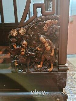 Rare Antique Main Sculptée Acajou Indien Lit De Jour Chinois, Opium / Lit De Mariage