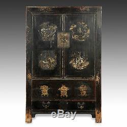 Rare Antiquité Chinoise Dynastie Qing Shanxi Laque Peinte Dorée Au Cabinet 18ème