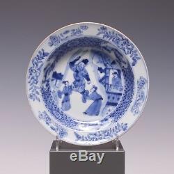 Rare Assiette En Porcelaine Fine Chinoise B & W, Personnages, Époque Yongzheng, 18ème