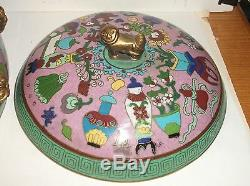 Rare Bol À Chien Foo En Bronze Cloisonné Émaillé De Bronze Audrey Meadows Estate
