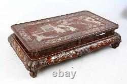 Rare Chinese Antique Lacquer Mother Of Pearl Inlaid Kang Table, Dynastie Qing (2)