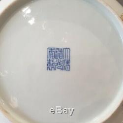 Rare Chinese Doucai Honeysuckle Plat Daoguang Mark & de La Période (1821-1850)
