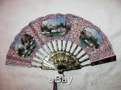 Rare Chinese Export Telescoping Fan Avec Faces Appliquée Boîte Originale Circa 1850