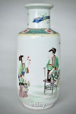 Rare Chinois Antique Famille Verte Petit Porcelaine Rouleau Vase, Dynastie Qing